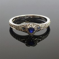 Blue Sapphire Heart Engagement Ring