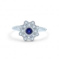 Floral Blue Sapphire & Diamond Ring