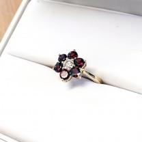 Floral Garnet & Diamond Ring