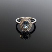 Rococo Aquamarine & Diamond Engagement Ring