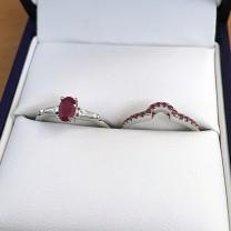 Ruby Bridal Ring Set