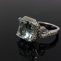 Vintage Aquamarine & Diamond Cocktail Ring