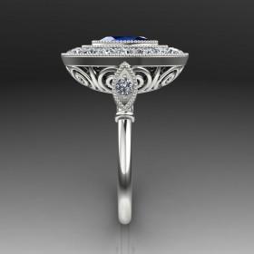 Bespoke Art Deco Blue Sapphire Engagement Ring