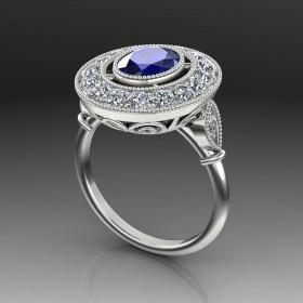 Bespoke Vintage Halo Sapphire Ring