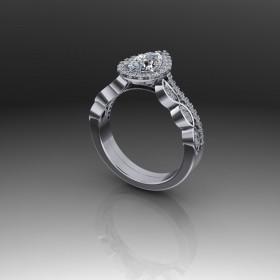 Bespoke Pear Shape Diamond Engagement Ring
