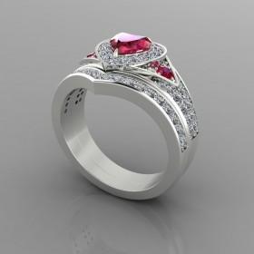 Bespoke Ruby & Diamond Bridal Set