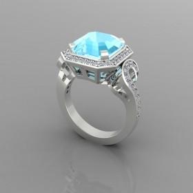 Bespoke Vintage Aquamarine Engagement Ring