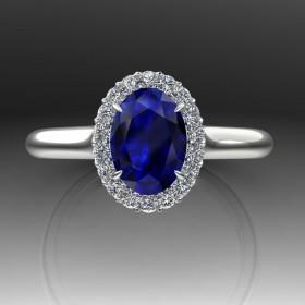 Bespoke Blue Sapphire Halo Ring