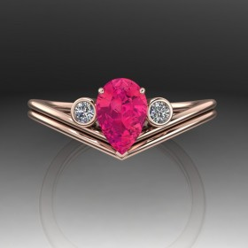 Bespoke Red Spinel Engagement Ring