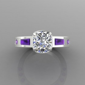 Bespoke Diamond & Amethyst Engagement Ring