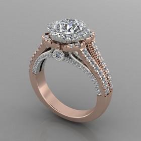 Bespoke Rose Gold & Diamond Split Shoulder Engagement Ring