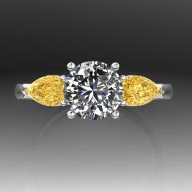 Bespoke Round Brilliant Diamond & Canary Yellow Diamond Ring