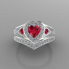 Bespoke Burmese Ruby & Diamond Bridal Set