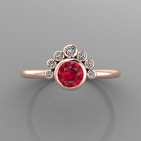 Bespoke Rose Gold Garnet & Diamond Ring