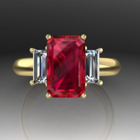 Bespoke Thai Ruby & Diamond Engagement Ring