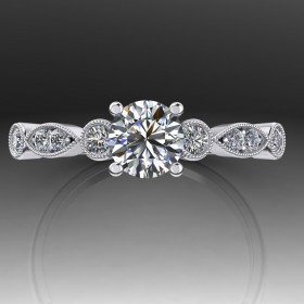 Bespoke Vintage Milgrain Diamond Engagement Ring