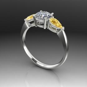 Bespoke Teardrop Canary Yellow Diamond Ring