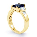 Aiko Blue Sapphire and Diamond Engagement Ring in 18ct Yellow Gold image 2