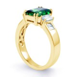 Aiko Emerald and Diamond Engagement Ring in 18ct Yellow Gold image 2
