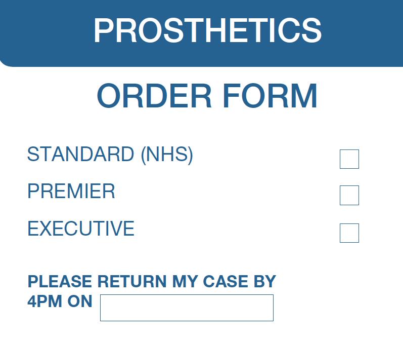 Prosthetics Order Form