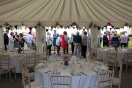 Dulwich Almshouse | Inaugural Summer Social 2018 - Table settings in the Marquee looking out onto th
