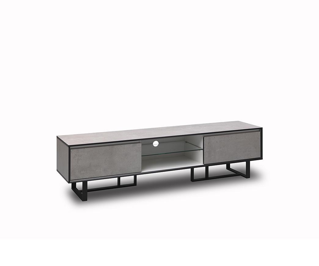 Porta tv kakul bianco ed effetto cemento di twist design duzzle