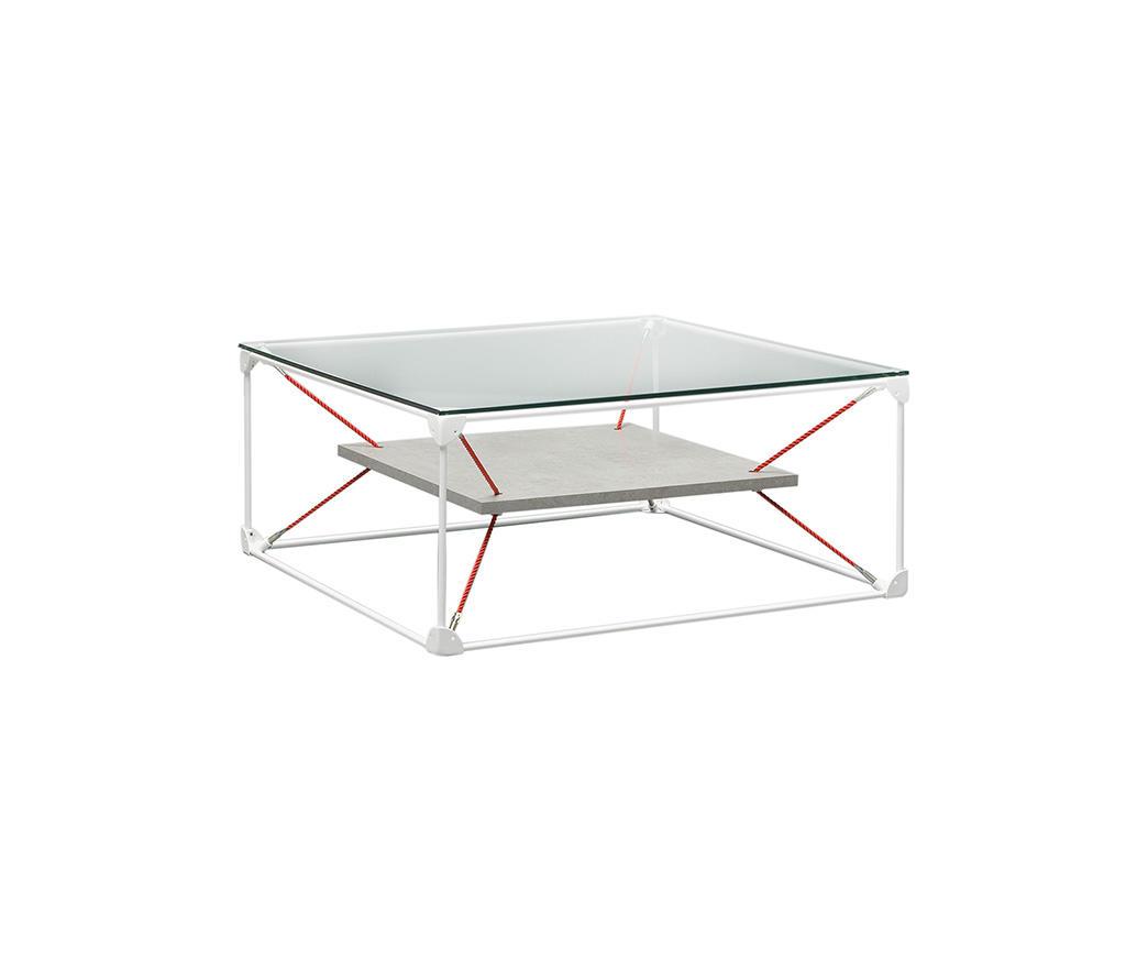 Tavolino da salotto Noqui top in vetro e ripiano effetto cemento