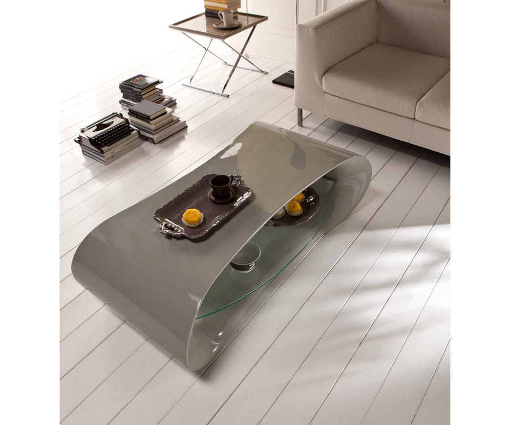 Tavolino Per Salotto Vetro.Tavolino Da Salotto Otto In Resina Laccata Grigio E Ripiano In Vetro