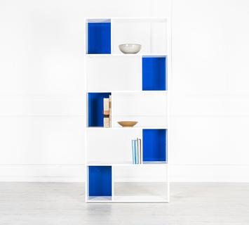 Duzzle libreria bianca azzurra ufficio quattro ripiani flow fusion design