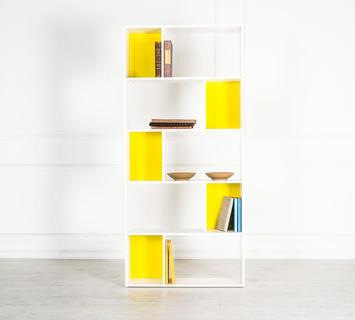 Duzzle libreria bianca gialla ufficio quattro ripiani flow fusion design