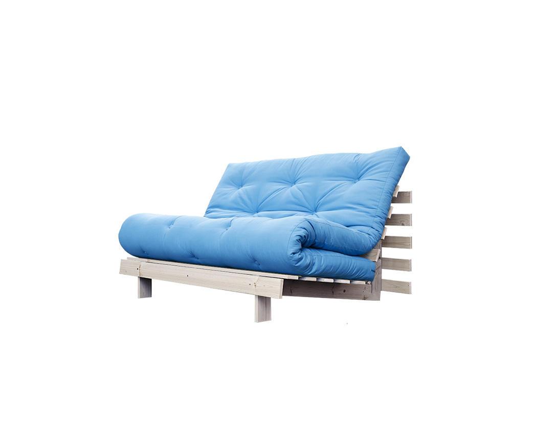 Divano letto roots 140 cm karup azzurro struttura natural for Divano azzurro