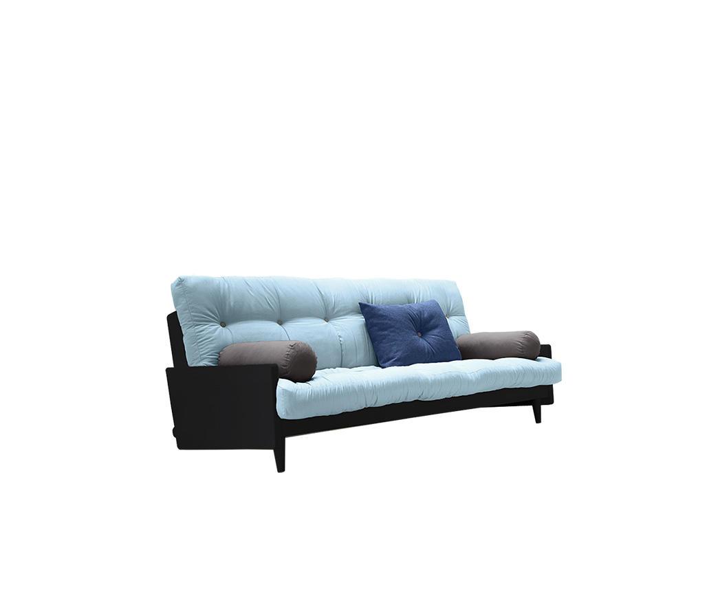 Divano letto indie di karup celeste con struttura nera for Costo divano letto
