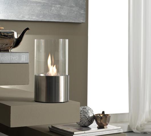 Duzzle caminetto bioetanolo da tavolo tondo vetro tmperato stones