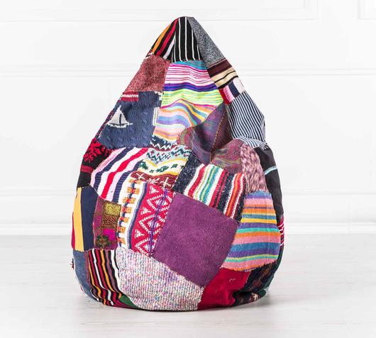 Duzzle poltrona pouffe sacco fatto a mano tessuto rigenerato multicolor stones complementi arredo