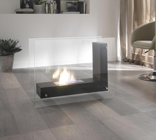 Duzzle caminetto bioetanolo da pavimento rettangolare in vetro stones