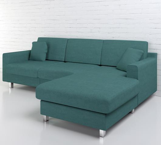 Duzzle divano tessuto tre posti con penisola ulisse blu