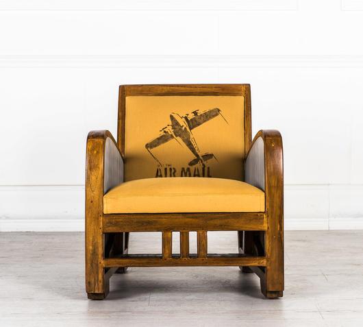Duzzle poltrona vintale beige in legno design twist frontale