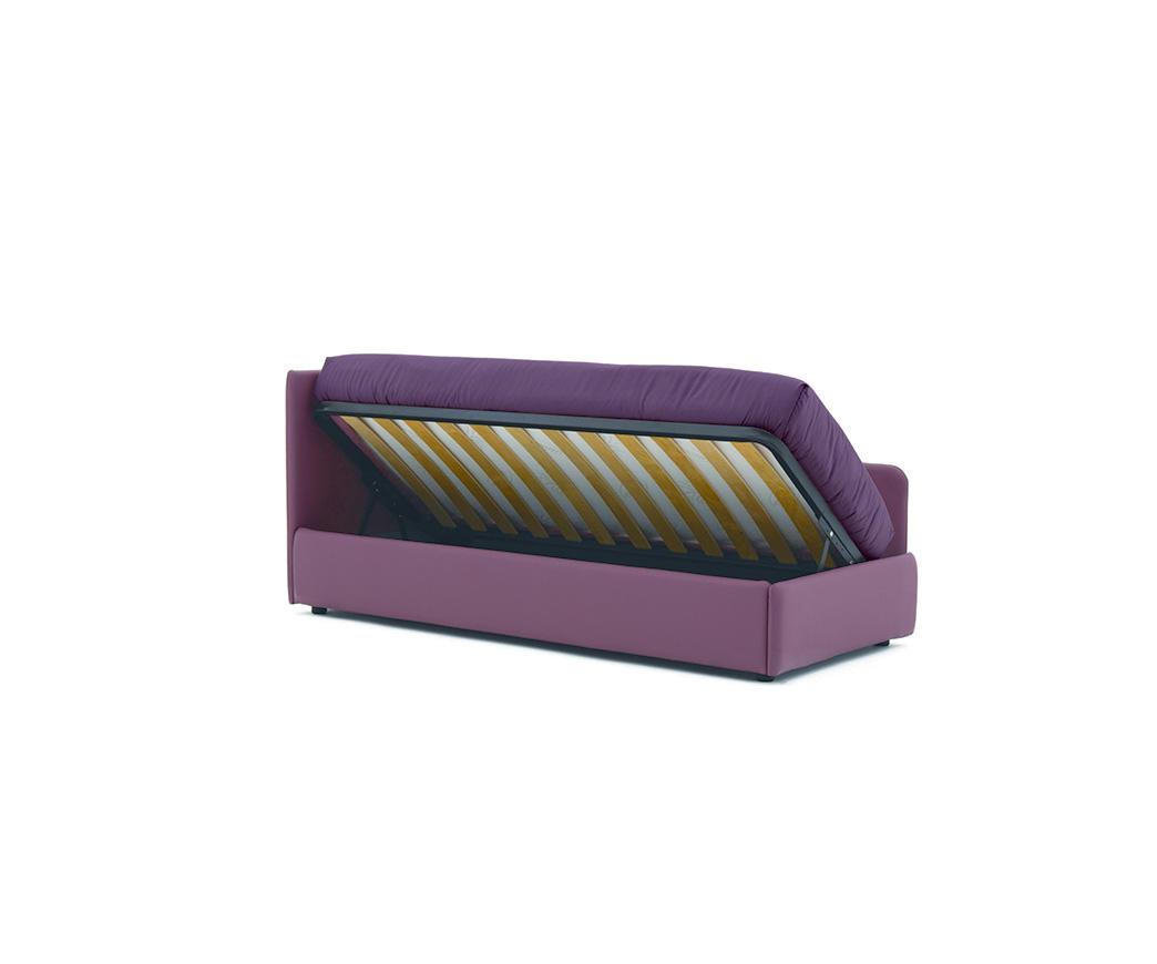 Divano letto walter con contenitore ad alzata laterale duzzle