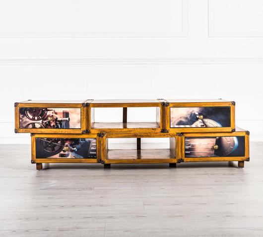 Duzzle mobiletto soggiorno in legno stile hollywood design twist frontale