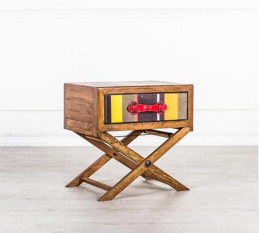 Duzzle mobiletto con cassetto legno massello design twist laterale