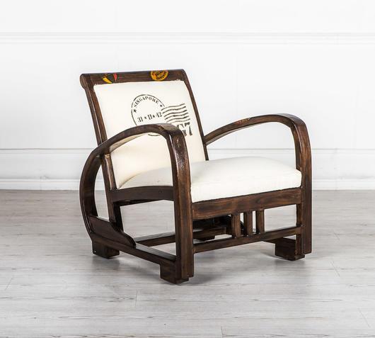 Duzzle poltroncina bianca legno massello design twist laterale