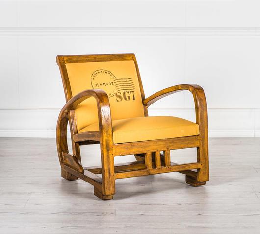 Duzzle poltroncina beige legno massello design twist laterale