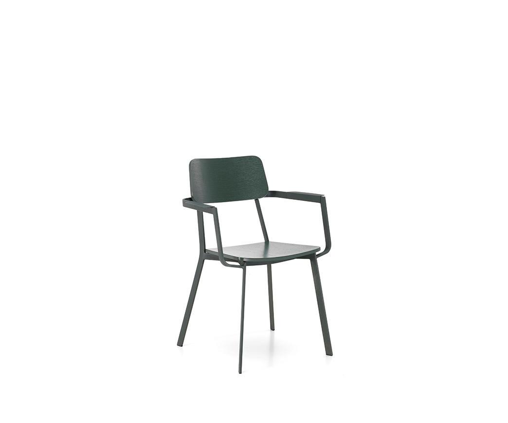 Sedia Woody Verde con Braccioli OM337VE di Stones