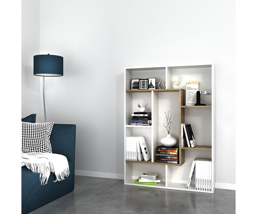 Libreria Moderna Bianca.Libreria Moderna Bicolor Liam Bianca E Noce