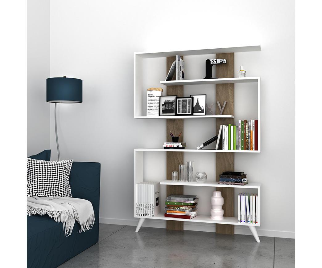 Libreria moderna Bicolor Jane Bianca e Noce