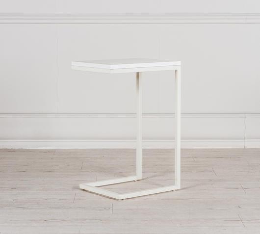 Duzzle tavolinetto bianco in mdf a zig zag laterale