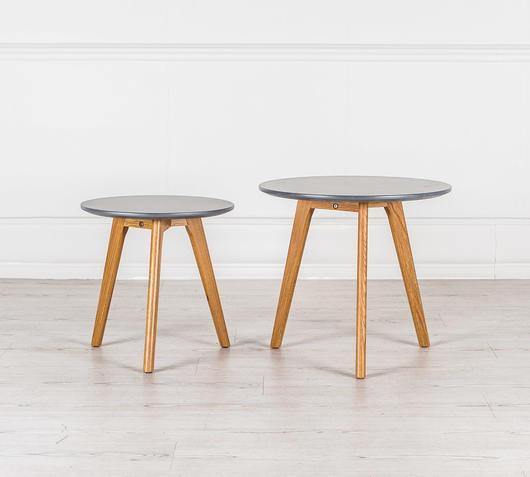 Duzzle coppia tavolinetti soggiorno in mdf colore grigio frontale