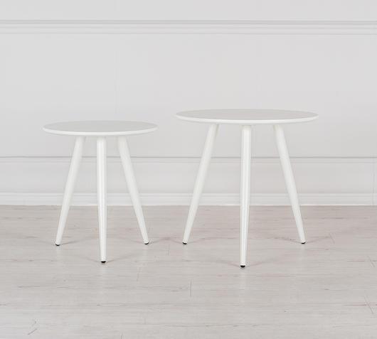 Duzzle set tavolinetti soggiorno in mdf colore bianco frontale