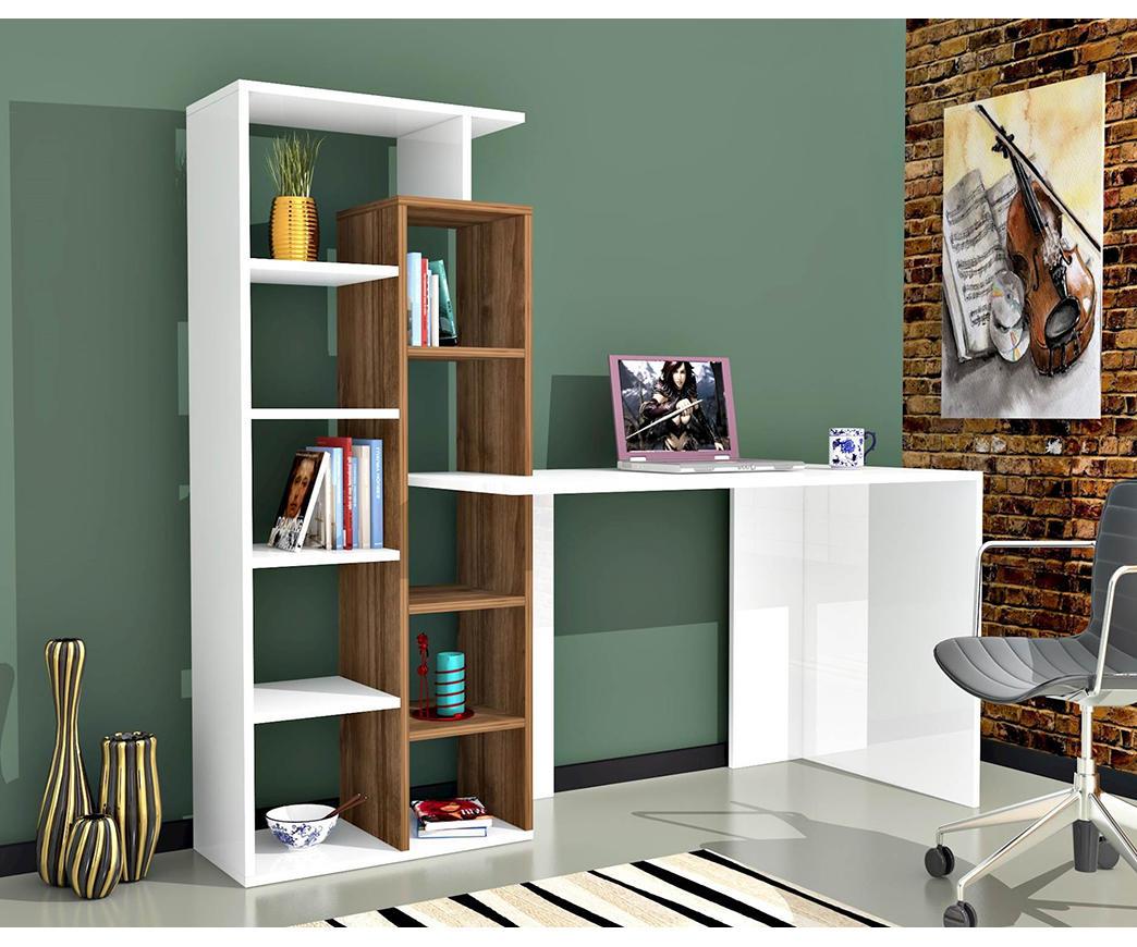 Scrivania Bianca Con Libreria : Scrivania juliet bianca e noce con libreria a lato duzzle
