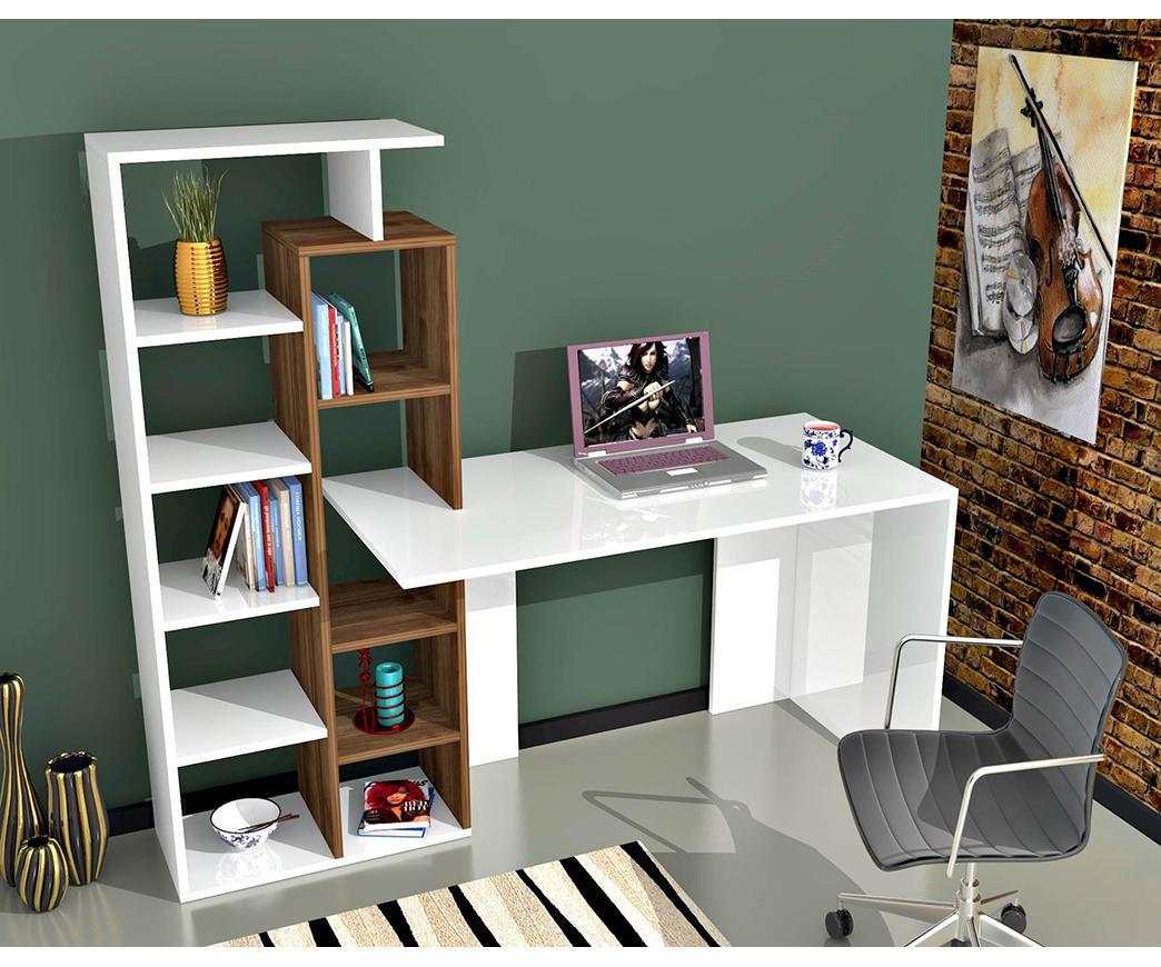 Scrivania E Libreria.Scrivania Poly Bianca E Noce Con Libreria Integrata